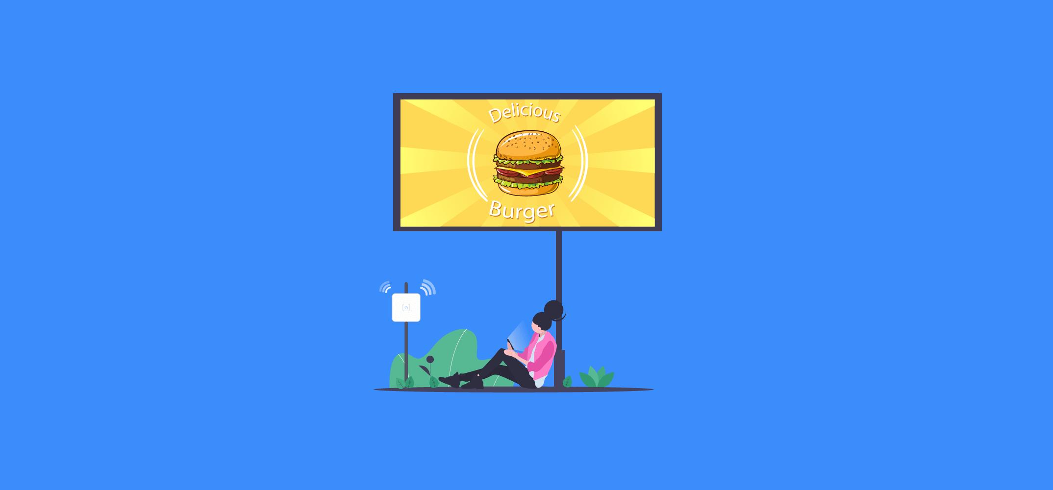 Девушка под рекламным баннером смотрит Wi-Fi рекламу