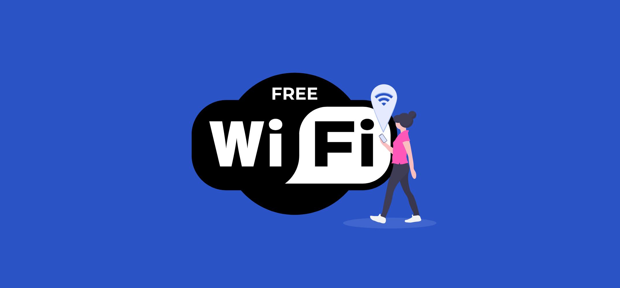 девушка подключилась к бесплатному Wi-Fi